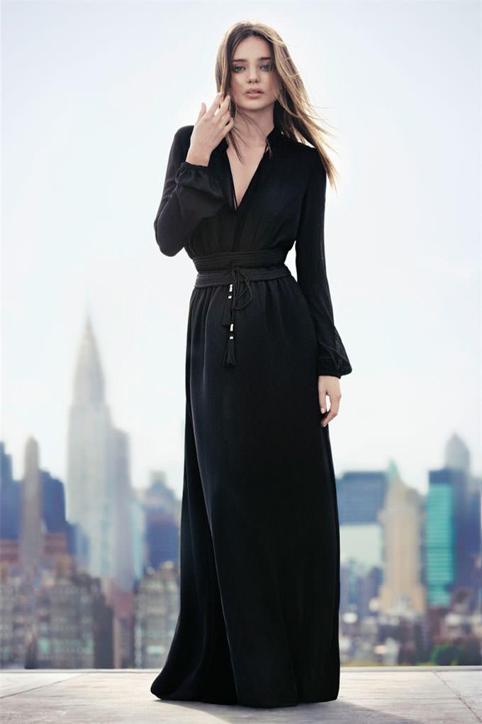 Черное длинное платье от манго