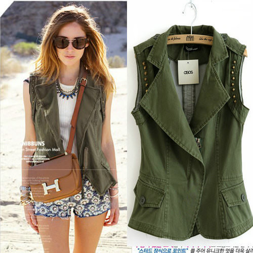 2013-New-Autumn-Women-Denim-Cotton-Army-Green-Fashion-font-b-Vest-b-font-With-font