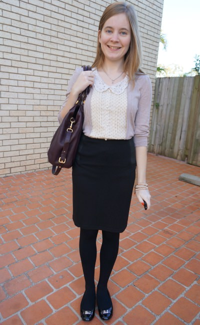 010813 awayfromblue layered top polka dots pencil skirt black marc by marc jacobs flats fran bag