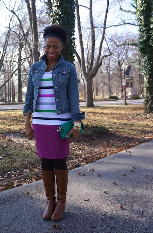Gap roll cuff stripe tee, Coach Penny purse, Ann Taylor stretch twill pink pencil skirt 2