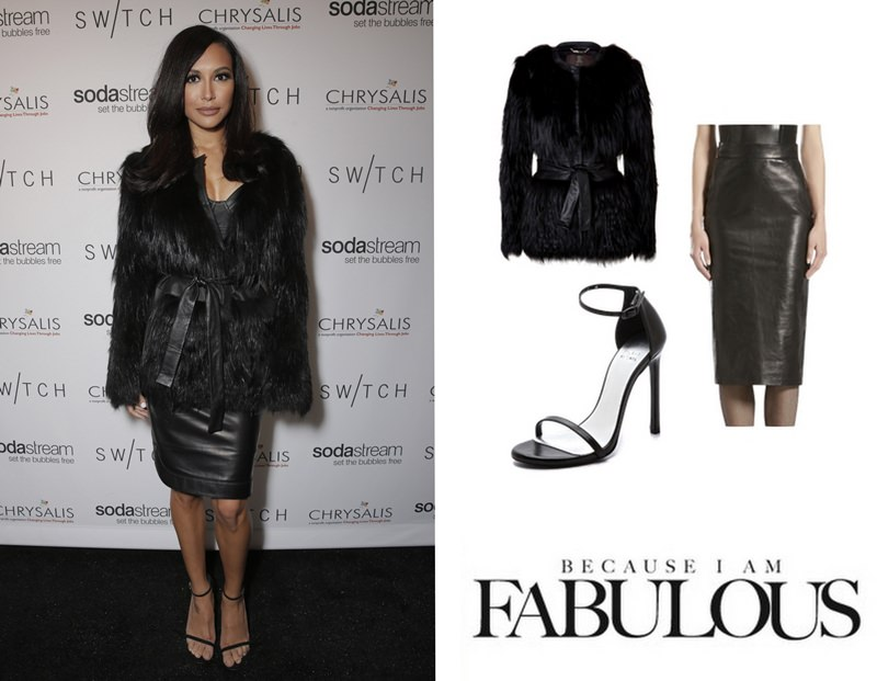 Roberto-Cavalli-Fox-Fur-Belted-Coat-Gucci-Leather-Pencil-Skirt-Stuart-Weitzman-Nudist-Single-Band-Sandals-Switch-Boutique-Holiday-Party-Naya-Rivera