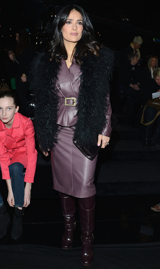 Salma-front-row-ensemble-included-lavender-leather-jacket-matching-pencil-skirt-black-Mongolian-fur-vest-rich-riding-boots