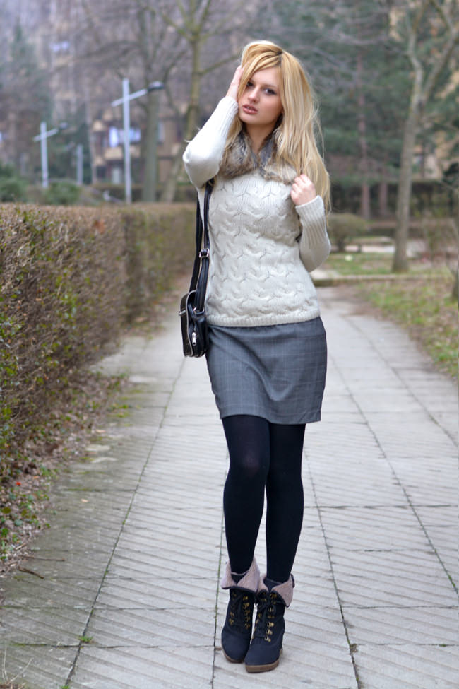 sweater pencil skirt tights boots