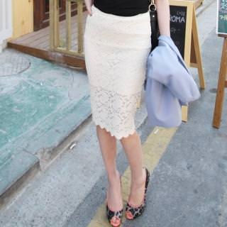 Белая юбка карандаш кружево