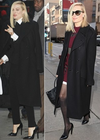 Margot-Robbie-in-black-coat-outfits