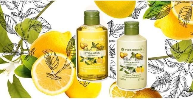 Лимон и базилик гель для душа и молочко для тела от Yves Rocher