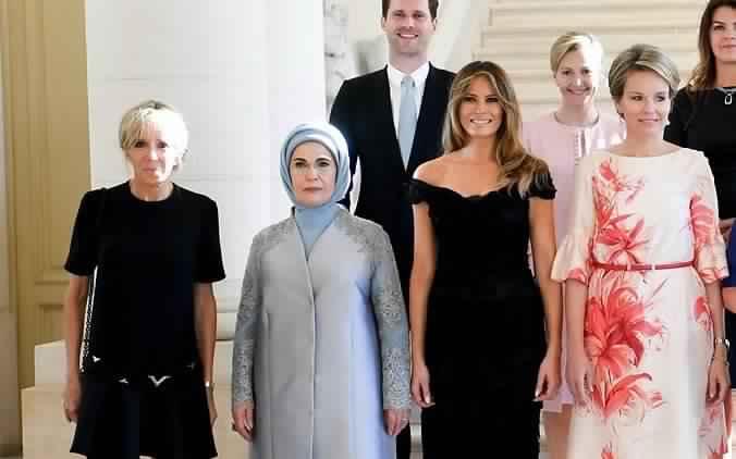 саммит  нато первые леди мелания трамп брижит макрон эрдоган