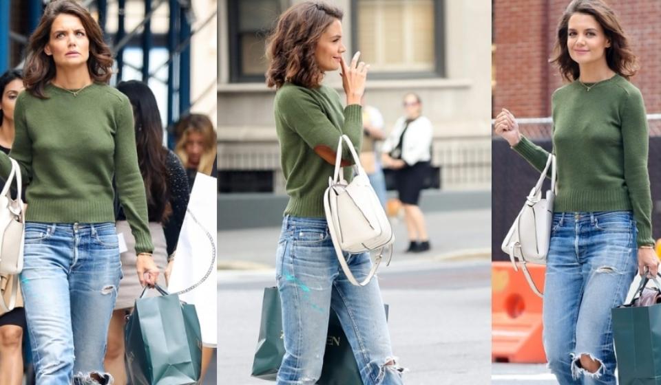 Кэти Холмс, свитер и джинсы