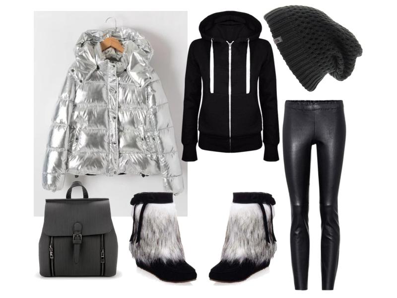 тренд серебряный пуховик trend silver puffer coat shein