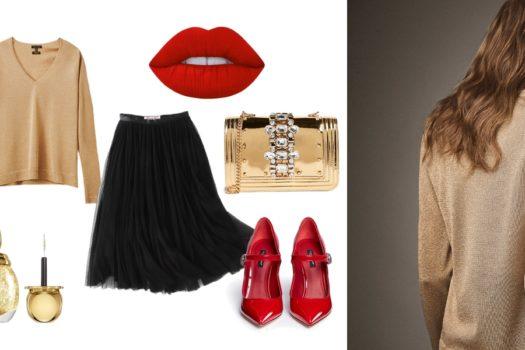 Вещь дня: золотистый пуловер Massimo Dutti
