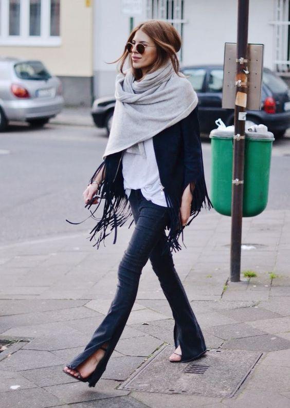 стильно носить шарф