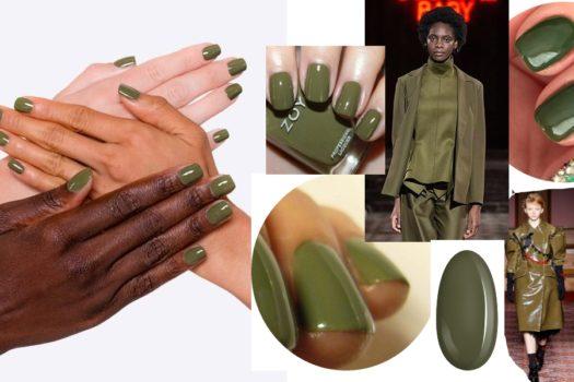 Ногти  как оливки: маникюр в трендовом цвете