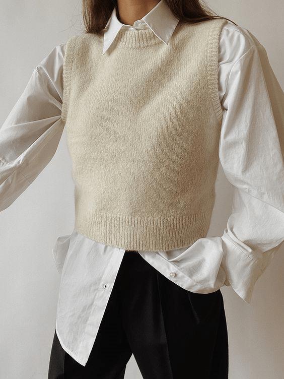как носить вязаный жилет
