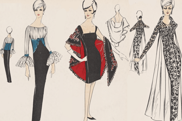 Эскизы вечерних платьев из шестидесятых